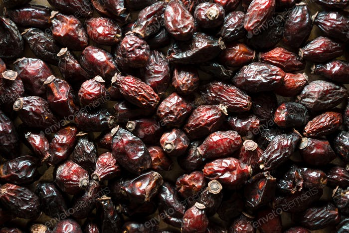 Background of dry rose hips close-up