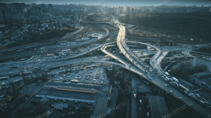 Night urban traffic road system sight aerial view