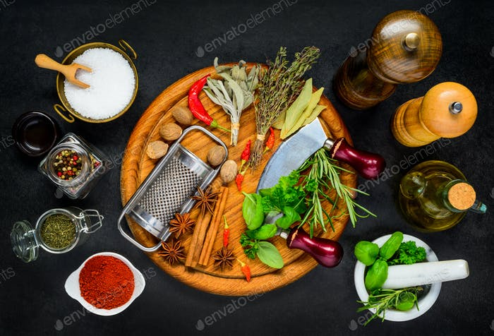 Spices, Condiment with Herbs and Kitchen Utensils