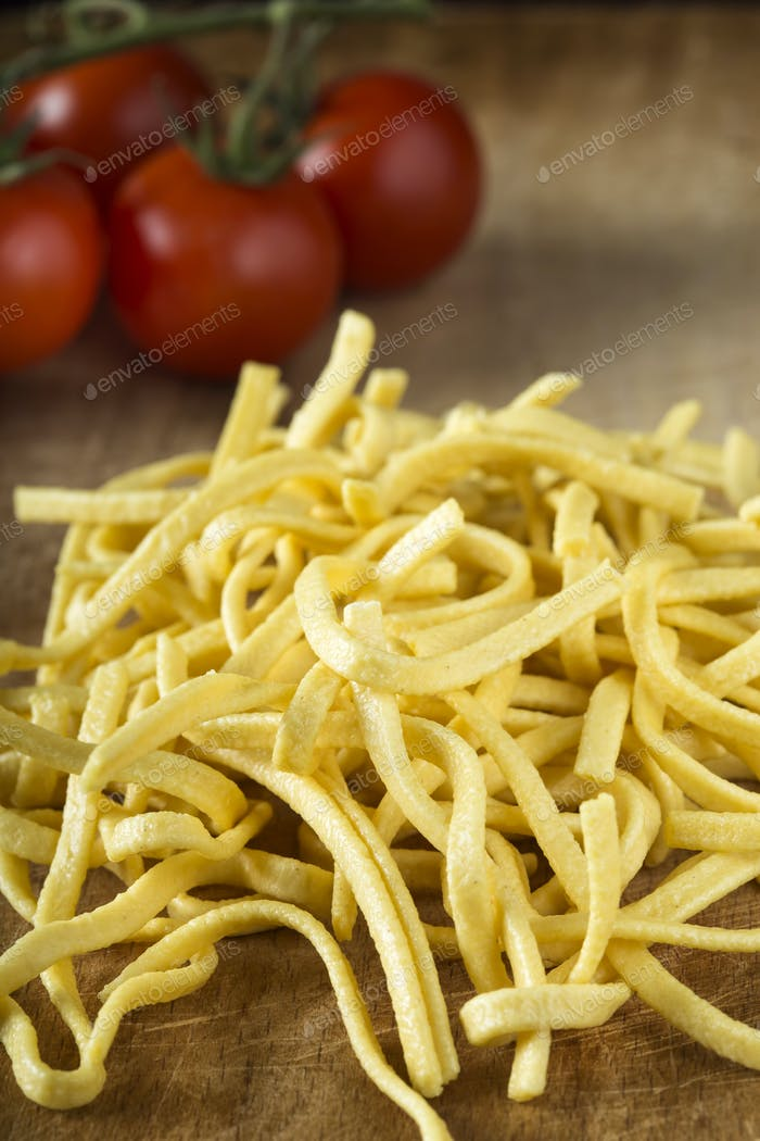 Raw yellow noodles
