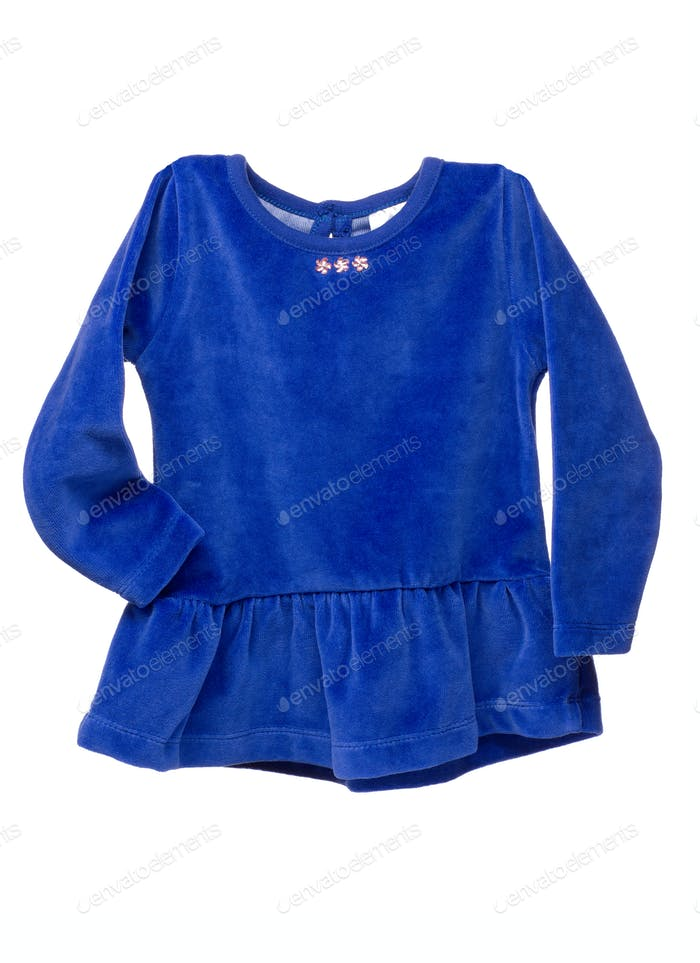 Blue suede baby dress.