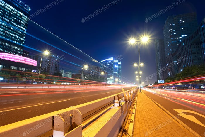 light trails at megacity street