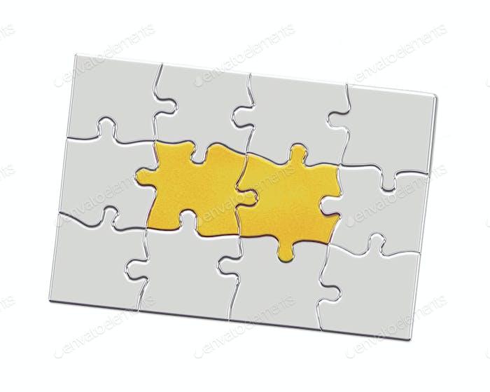 3d illustration metal puzzle pieces