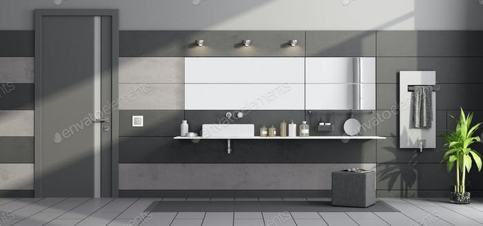 Black and gray modern bathroom