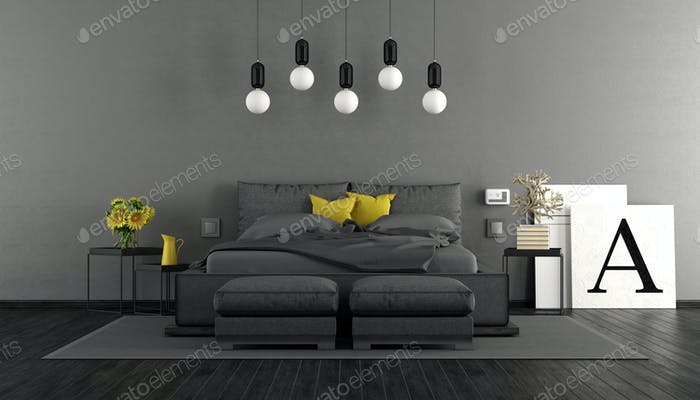 Gray and black master bedroom