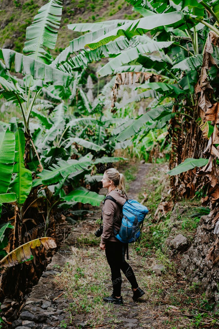 Blond yong women with camera and blue backpack walking through banana plantation on the trekking