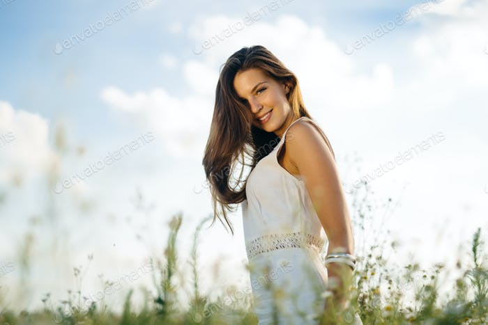 Beautiful woman without pollen allergy