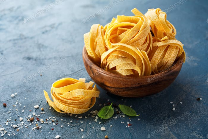 Fettuccine pasta ingredients for Italian food