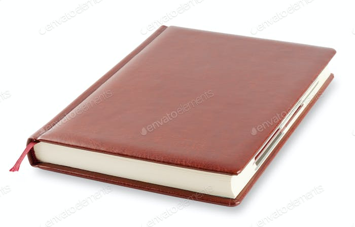 Brown diary with bookmark