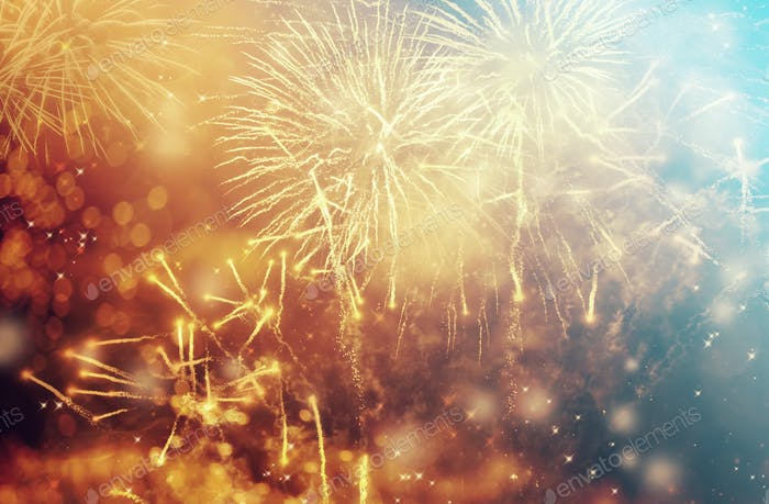 Abstract holiday background with fireworks