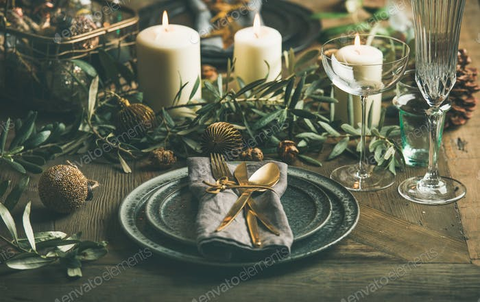 Christmas or New Years celebration party festive table setting