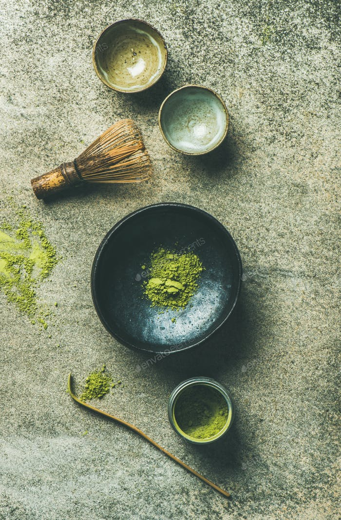 Japanese tools for brewing matcha green tea, top view