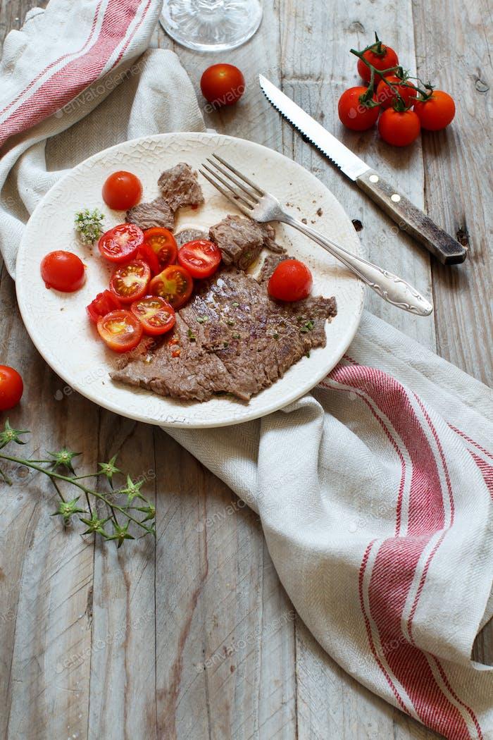 Dünne Scheibe Gegrilltes Machete Steak oder Rock Steak