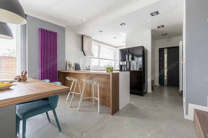 Dining room, kitchen and entrance
