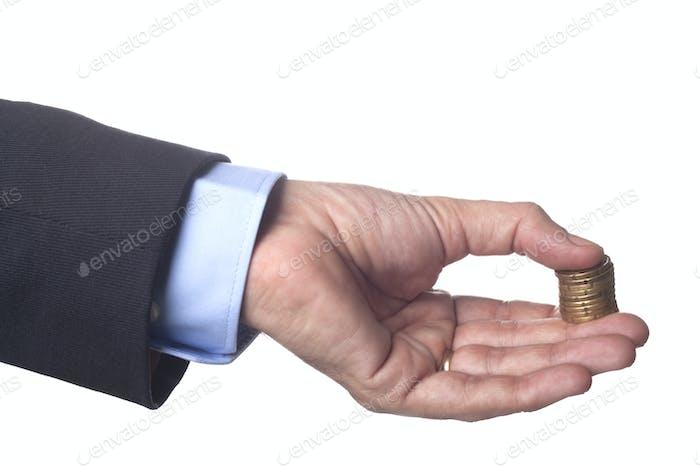Golden Coins in Hand