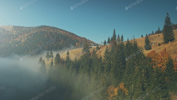Wild nature highland foggy scenery aerial view