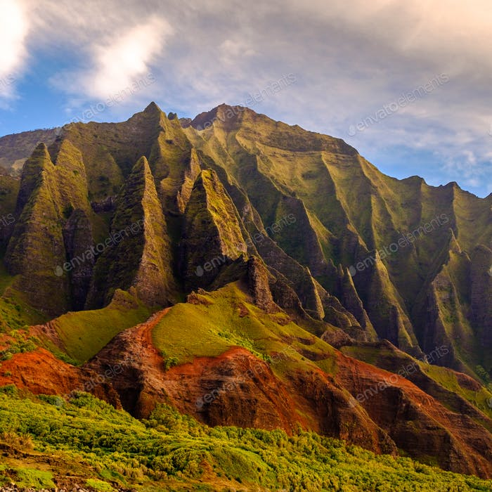 Detail landscape view of Na Pali rugged weathered cliffs, Kauai,