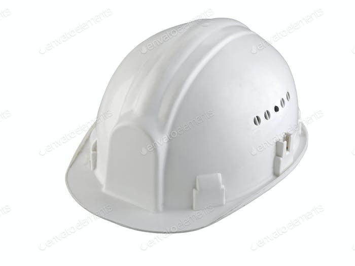 isolated white construction helmet on white background