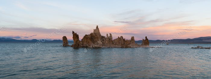Salt Tufa Formations Sunset Mono Lake Panoramic California Nature