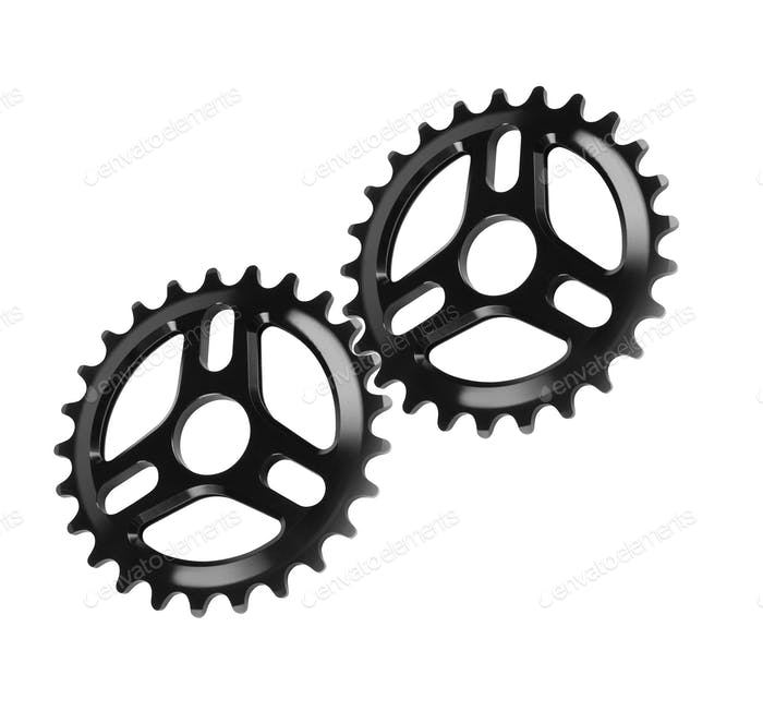 Bicycle gears, metal cogwheels isolated on white
