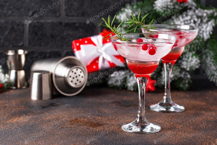 Cranberry margarita cocktail. Christmas drink