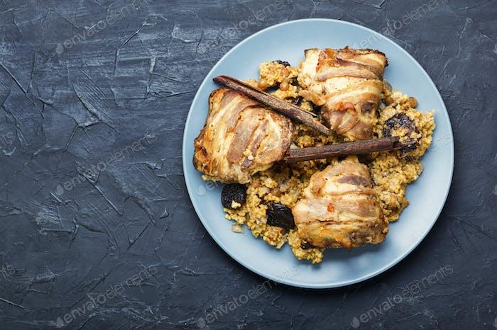 Stewed chicken thighs and porridge