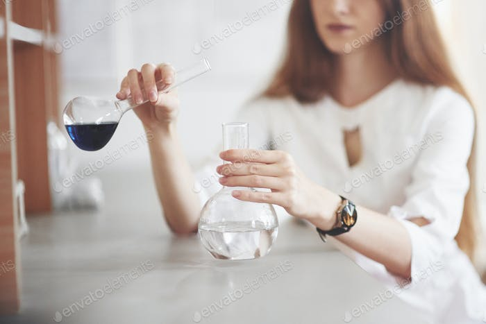 Experiments in the chemical laboratory. An experiment was carried out in a laboratory in transparent
