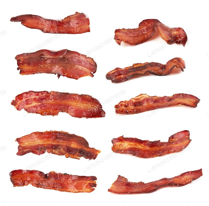 Fried bacon isolated on a white background