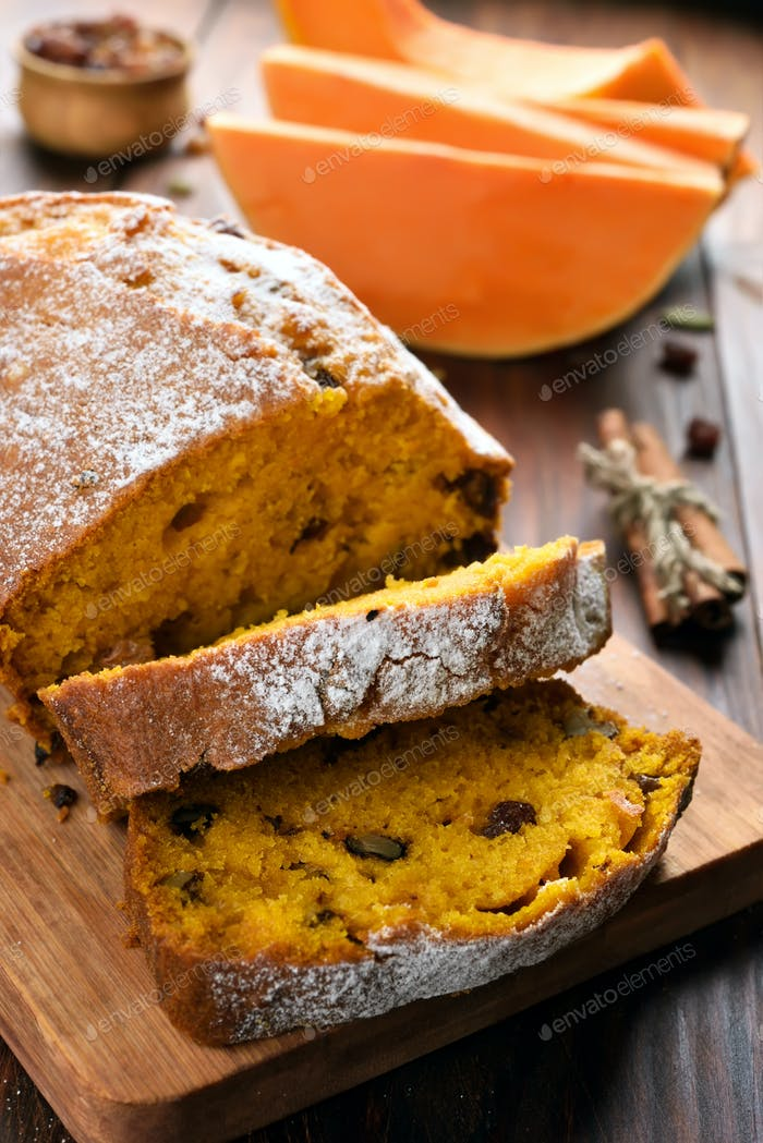 Sliced pumpkin loaf