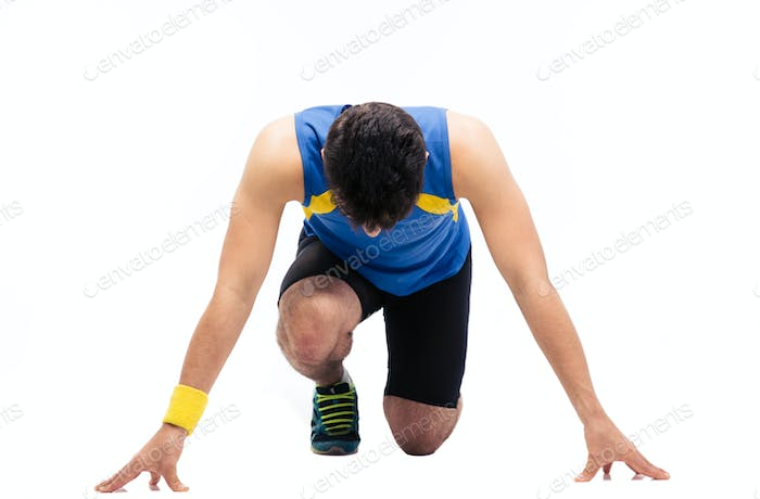 Man getting ready to run