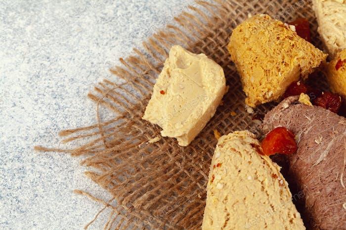 Assortment of turkish desserts baklava and halva