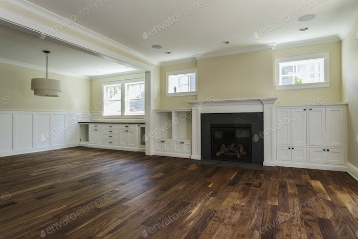 54534,Fireplace and built-in shelves in living room