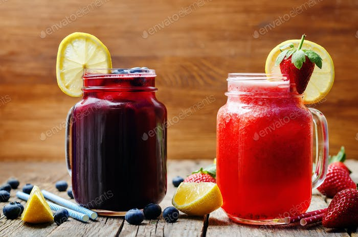 blueberry and strawberry lemonades