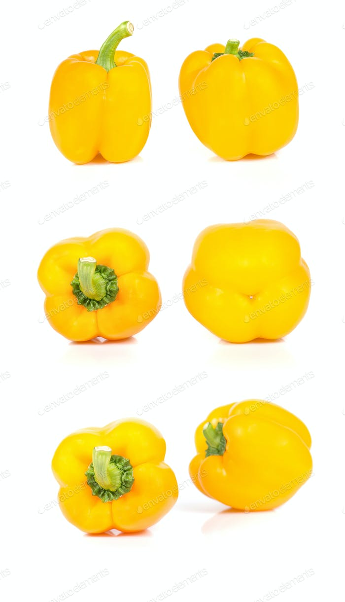 Yellow bell peppers images on white background.