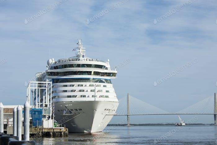 Cruise ship in port in Charleston, South Carolina