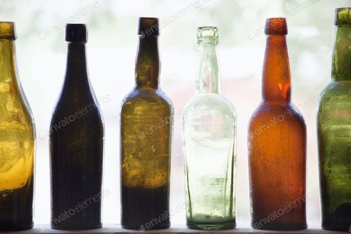 Antique Bottles In Window