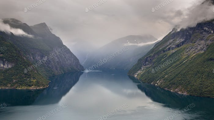 Geiranger fjord seen from Hellesylt side