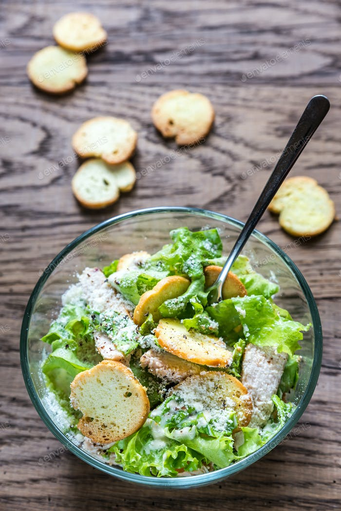 Bowl of chicken Caesar salad