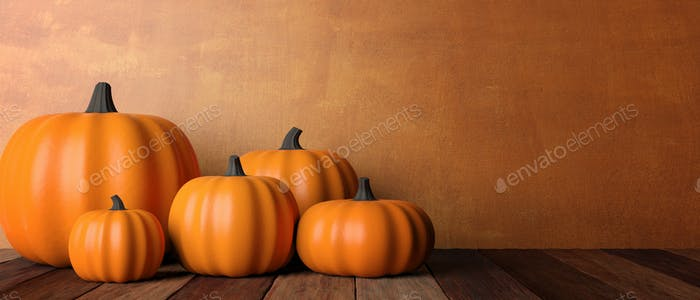 Thanksgiving. Pumpkins on rustic wooden table, banner, copy space. 3d illustration