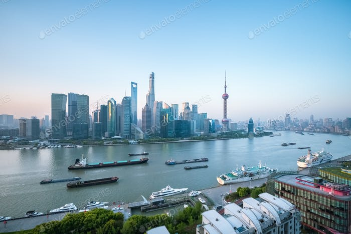 shanghai cityscape in morning