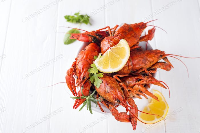 Boiled crayfish in the plate