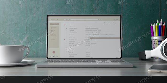 Laptop-Computer mit E-Mail-Liste auf dem Bildschirm. 3D Illustration