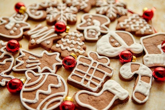 Christmas cookies compostion on table. With small balls