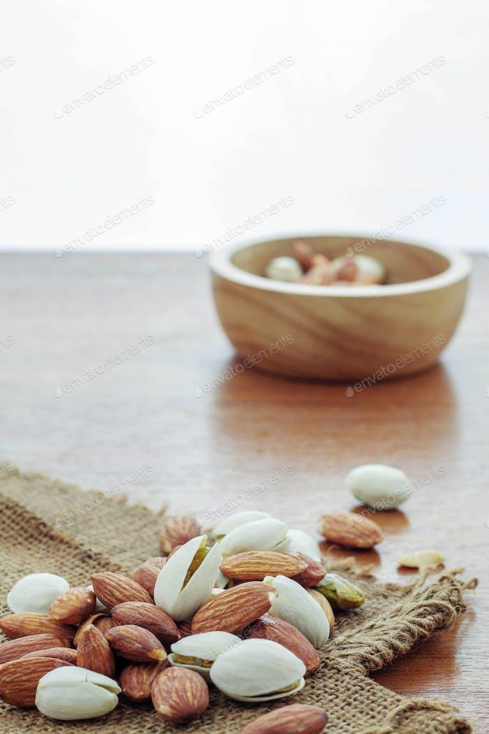 Almond on sackcloth
