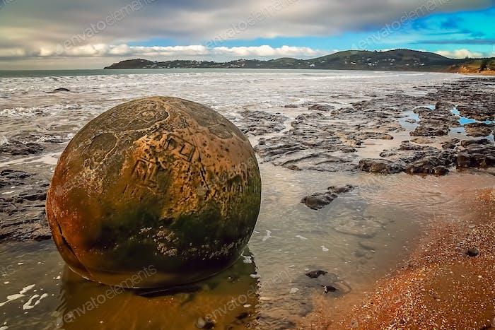 Strange Moeraki boulder