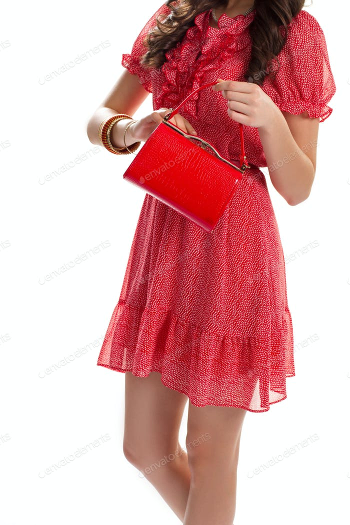 Lady in red summer dress
