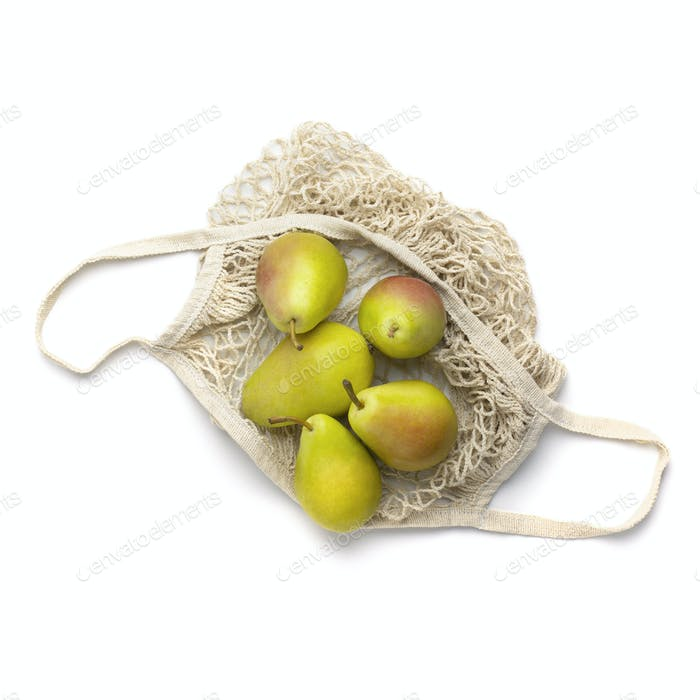 Organic and fresh pears in reusable safety shopping net
