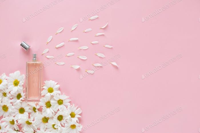 Fresh spring perfume sprays flower petals