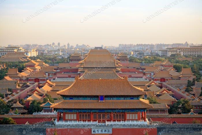 beijing forbidden city at dusk