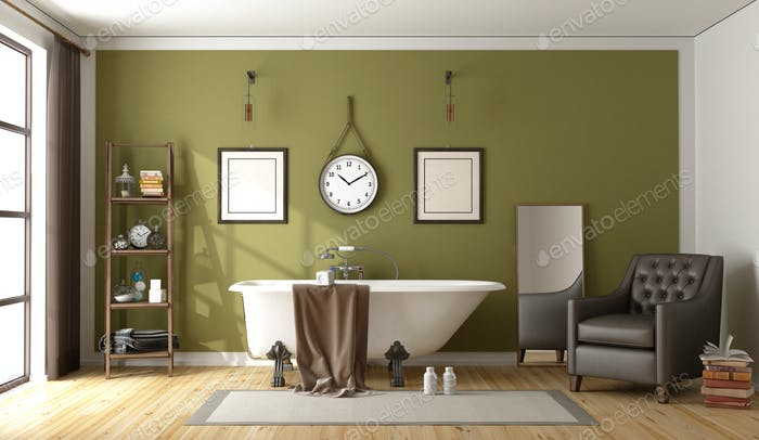Green retro bathroom